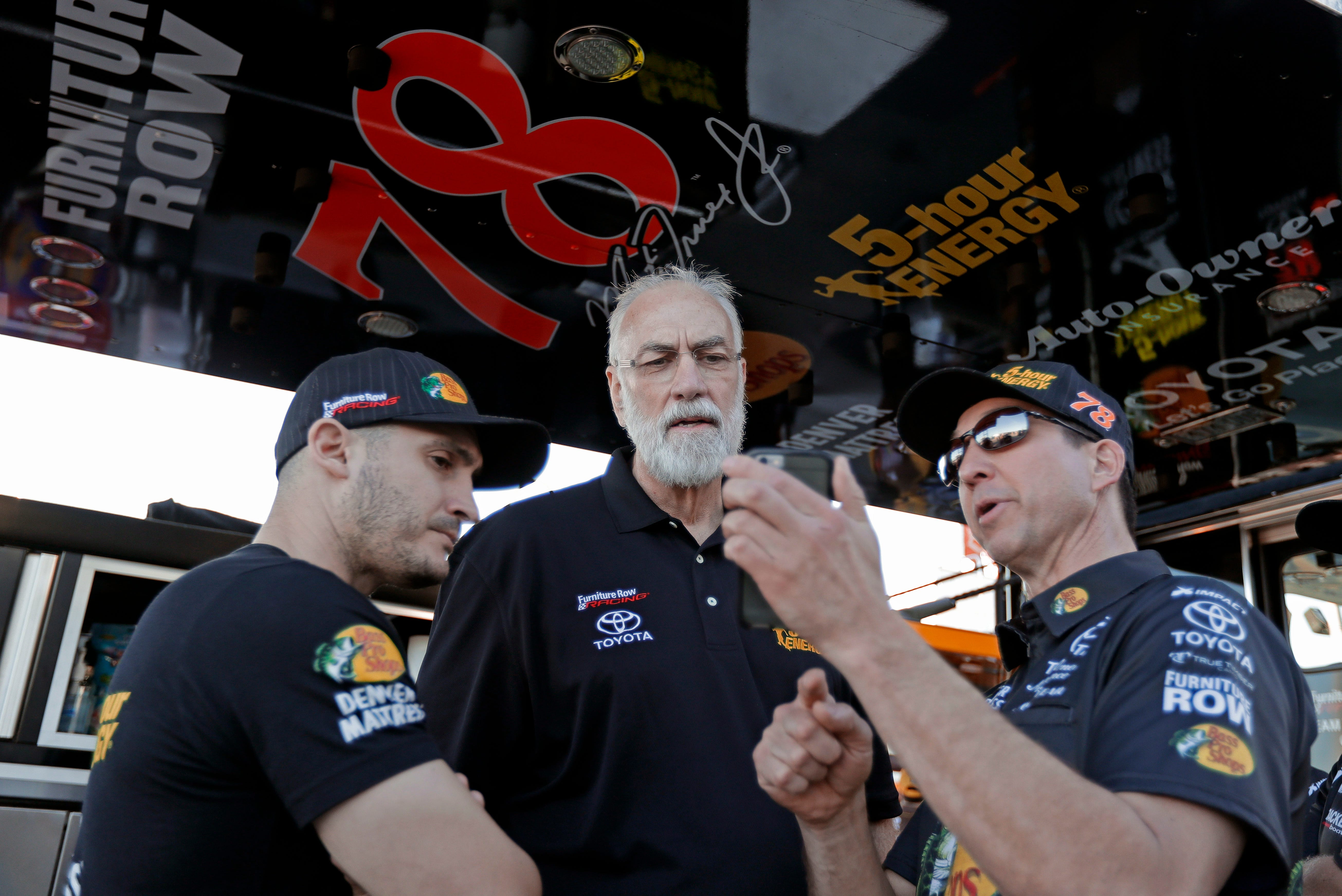 Barney Visser, Center, Team Owner Of Furniture Row Racing, Talks With Crew  Members