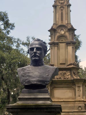 A monument to Francis Bartow stands next to the Confederate monument at Forsyth Park.