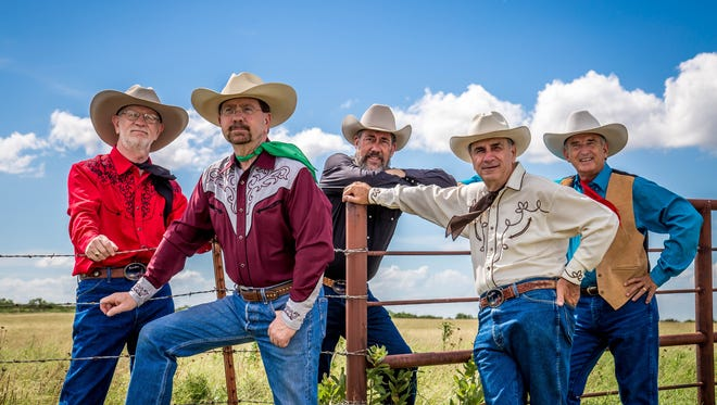 """Prairie Moon's """"Singing My Way Down the Tucson Trail"""" is one of five finalists for the Academy of Western Artists' Western music song of the year. Members of the Wichita Falls-based cowboy band include Tim Callaway, Michael Callaway, Will Sullivan, Ron Callaway and David Holcomb (from left)."""