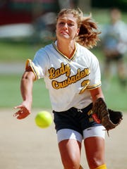 Melanie Potson Schlott delivers a pitch for Notre Dame in 2000.