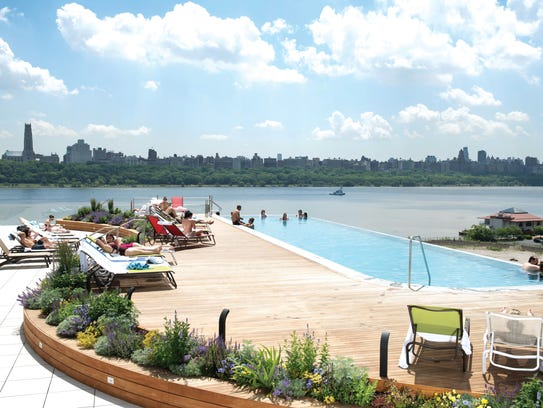 The infinity pool at SoJo Spa Club in Edgewater.