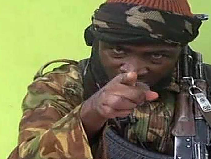 Abubakar Shekau, leader of the Islamist extremist group Boko Haram, appears on a video claiming to show some of the missing Nigerian schoolgirls on May 12 at an undisclosed location. The video shows about 130 of the 276 girls, wearing the full-length hijab and praying at an undisclosed rural location. The schoolgirls were abducted on April 14 from a school in Chibok, Nigeria.