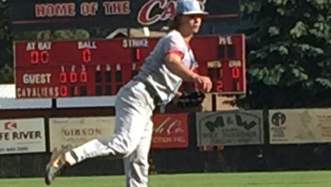 South Salem's Ryan Brown delivers a pitch during the Saxons' 3-2 loss to Clackamas in the Class 6A state semifinals at Clackamas High School on May 29, 2018.