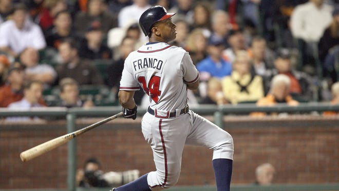 Julio Franco of the Atlanta Braves swings at the pitch against the San Francisco Giants at AT&T Park on July 25, 2007 in San Francisco, California.