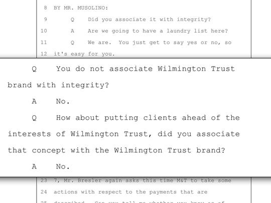 An excerpt from a deposition of Michael A. DiGregorio, former general counsel and corporate secretary of Wilmington Trust taken as part of the Bresler case.
