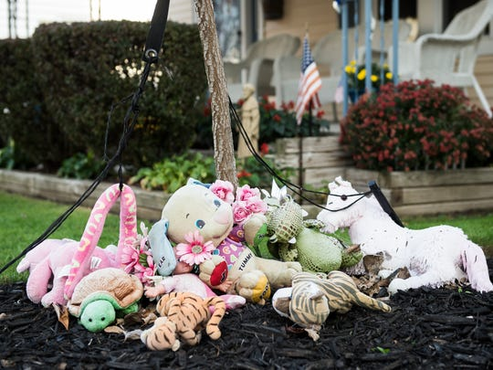 In this file photo from Nov. 7, 2017, a memorial to 4-year-old Dakota Wright sits outside a home on Princess Street in Hanover where she had lived.