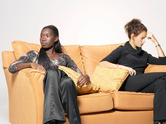 Angry women on couch
