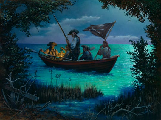 "Pirates arrive on an unfamiliar shore in the 2011 Don Maitz painting, ""Hidden Cove."""
