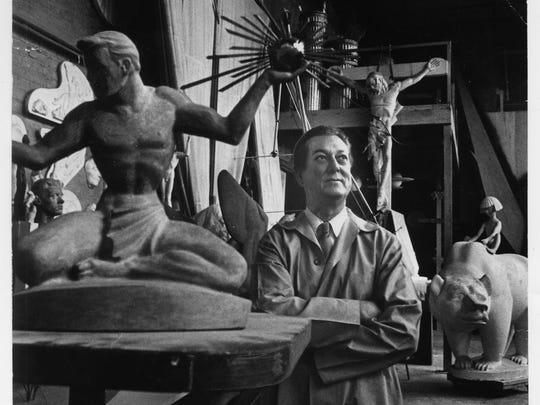 1964 file photo of Marshall Fredericks at his studio at 4113 N. Woodward, Royal Oak.
