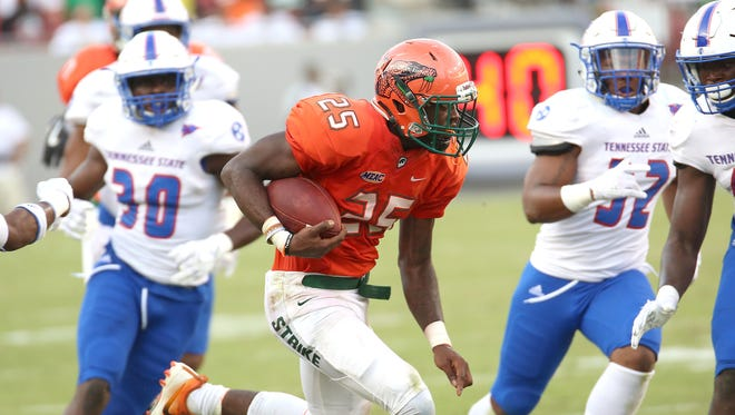 FAMU running back Devin Bowers looked solid early against Tennessee State, but finished the game with just 46 yards and a touchdown.