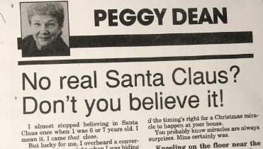 Peggy Dean's Christmas column appeared 25 years ago on Dec. 24, 1992.
