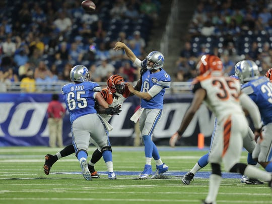 Detroit Lions QB Dan Orlovsky throws during the third quarter against the Cincinnati Bengals during a preseason game at Ford Field in Detroit on Thursday.