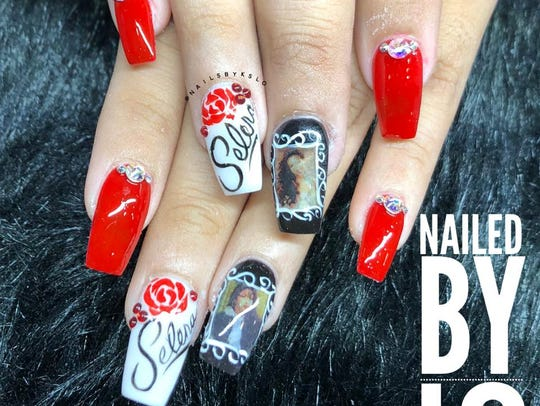Selena-inspired nail art was created by Linh Odom in