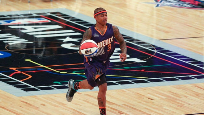 Phoenix Suns guard Isaiah Thomas (3) dribbles the basketball during the 2015 NBA All Star Skills Challenge competition at Barclays Center.