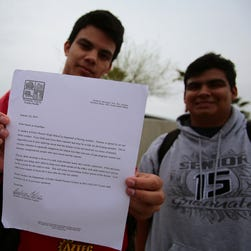 Palm Desert High School is sending 66 students  who have not been vaccinated for measles home Wednesday, Jan. 28, 2015, after a suspected case of measles this week.  The front of the new high school in 2011.