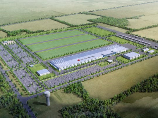Artist rendering of Montgomery County's LG Electronics plant in phase 1.