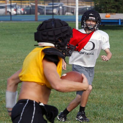 Delphi freshman Riley Lowder chases down a ball carrier