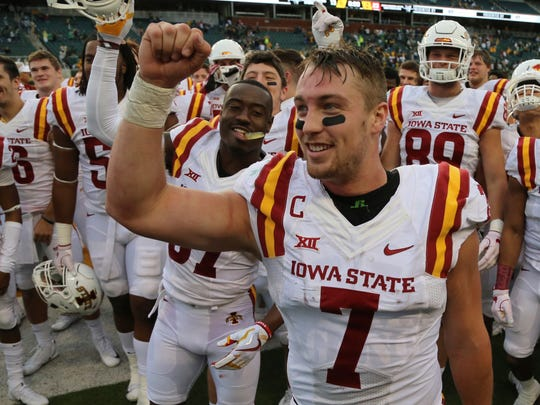 Iowa State quarterback Joel Lanning (7) celebrates their win over Baylor as well as his 23rd birthday after an NCAA college football game, Saturday, Nov. 18, 2017, in Waco, Texas. Iowa State won 23-13.