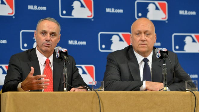 Rob Manfred answers questions from the media after naming Cal Ripken Jr.  Senior Advisor to the Commissioner on Youth Programs and Outreach during the MLB winter meetings.
