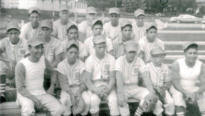 """Front row, from left, are Manager Johnny Saenz, Rudy Lopez, Jim Spangler, George Rodriguez, Sam Boswell and coach Henry Moreno. Middle row, from left, are Danny """"Paco"""" Arsola, Adrian Jaurequi, Gilbert Jimenez, Bobby Kennedy, Tony Esqueda and David Lardizabal. Back row, from left, are Paul Zamora, Rick Sinclair, Larry Hatler, Alex Perez, and Willie Andazola. Not pictured was Tony Soto."""
