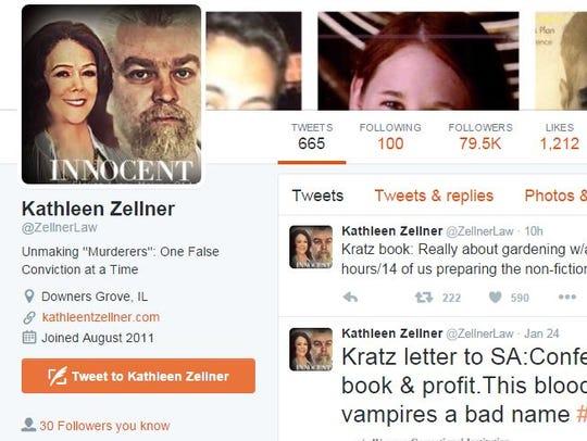 Screenshot of the Twitter page of Kathleen Zellner's