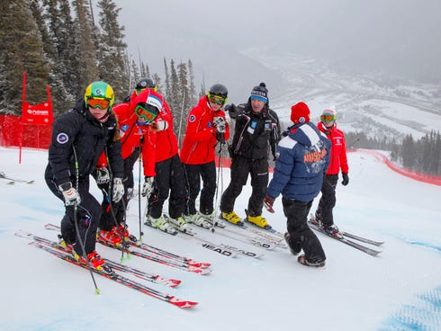 The Russian womens speed team is seen at the U.S. Ski Team training center at Copper Mountain, Colo., on Wednesday, Nov. 6, 2013. Russia hosts the 2014 Winter Olympics in Sochi.