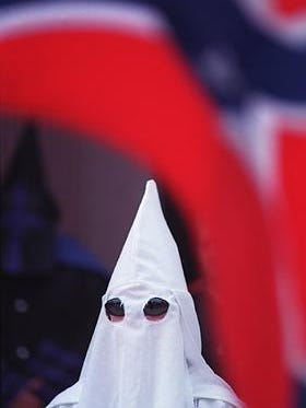 A Ku Klux Klan member appeared at a September 1999 rally in Corydon, one of the last public events held in southern Indiana. KKK members expect to rally in Madison on Saturday afternoon.