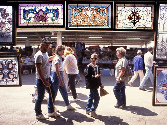Shoppers at the Nashville Flea Market at the Tennessee