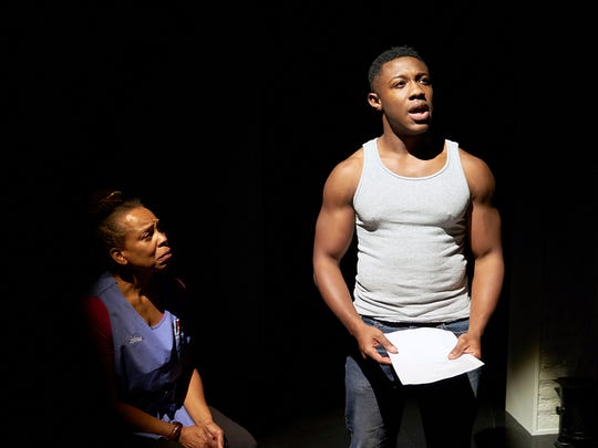 "Deborah Brock-Blanks (L) and Kameron Richardson star in the Ensemble Theatre Cincinnati's production of Kimber Lee's ""Brownsville Song (b-side for tray),"" running through Oct. 30."