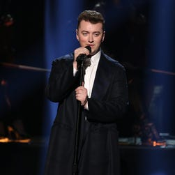 Sam Smith performs  at the 42nd annual American Music Awards.