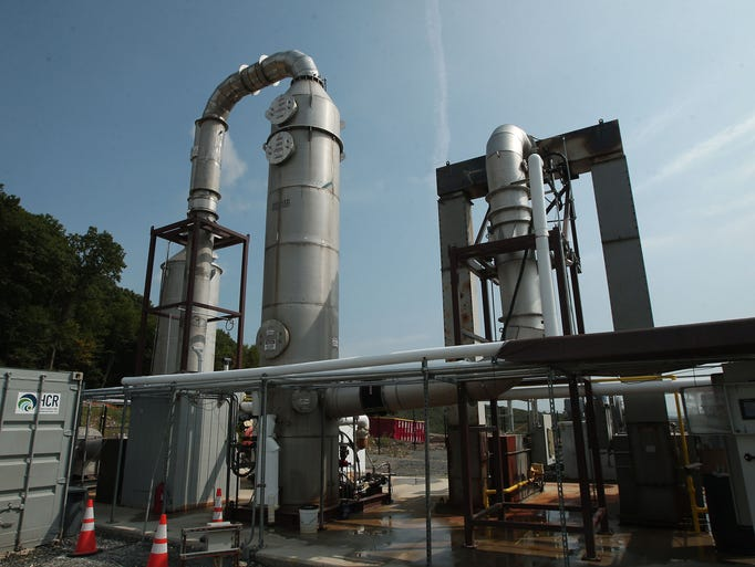 An oxidizer at the Fenimore Landfill which renders extracted hydrogen sulfide from the ground inert. Update about landfill remediation in this ongoing issue. August 20, 2014, Roxbury, NJ. Photo by Bob Karp