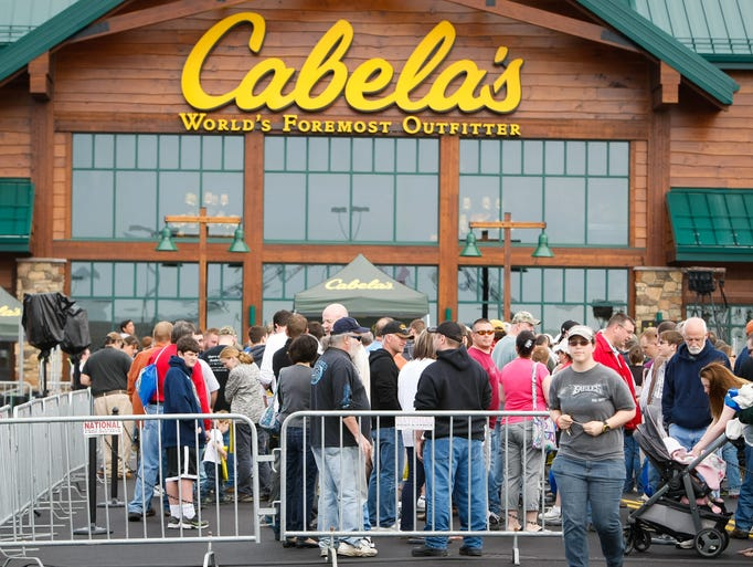 A large line forms as thousands line up for the grand opening of Cabela's near the Christiana Mall on Thursday.