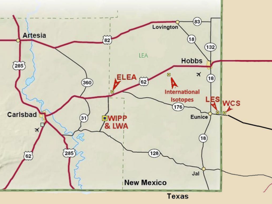 ELEA marks the location of a proposed nuclear waste storage facility in western Lea County, New Mexico (mar