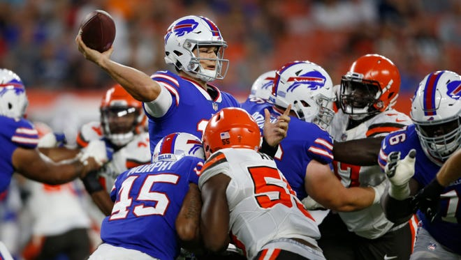 Buffalo Bills quarterback Josh Allen throws a pass during the first half of the team' NFL football preseason game against the Cleveland Browns, Friday, Aug. 17, 2018, in Cleveland. (AP Photo/Ron Schwane)