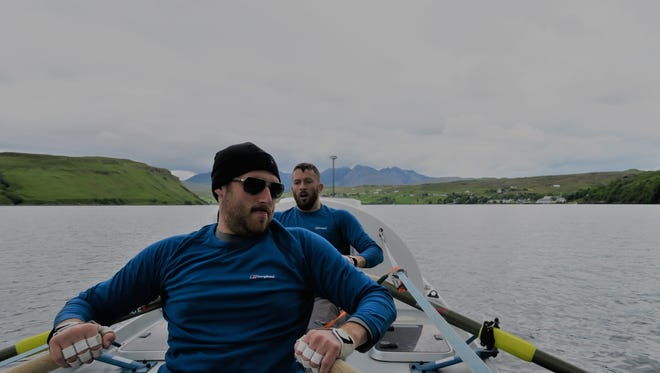 Phil Van Benthem, foreground, and teammate Brian Kerr training for their cross-Atlantic race.