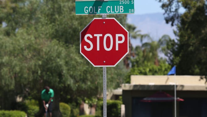 Golf Club Drive  will soon be changed to Lawrence Crossley Road. A golfer putts at Tahquitz Creek Golf Resort near a sign on Golf Club Dr. which will soon be changed to Lawrence Crossley Road in honor Lawrence Crossley, an early African American resident Palm Springs and pioneer.