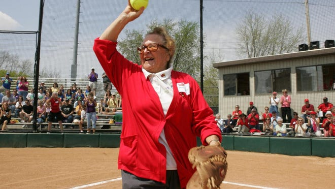 """Peoria native Marian """"Gabby"""" Kneer waves to the crowd at her namesake softball stadium at Illinois State University in Normal."""