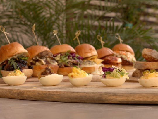 Deviled eggs and sliders are among the menu offerings