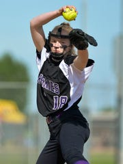 Albany's Courtney Buerman pitches in the first inning against Sauk Centre in the South Sub-Section 6-2A final Thursday at River's Edge Park in Waite Park.