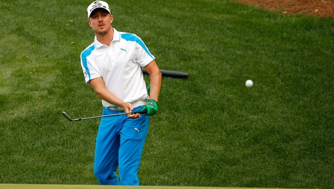 Jonas Blixt chips to the 13th green during the final round of the Masters. The Swede finished in a tie for second.