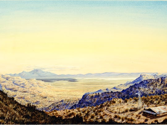 "Peter deLa Fuente's  painting called ""White Sands Hideaway"" graces the cover of ""The Last Ranch."""