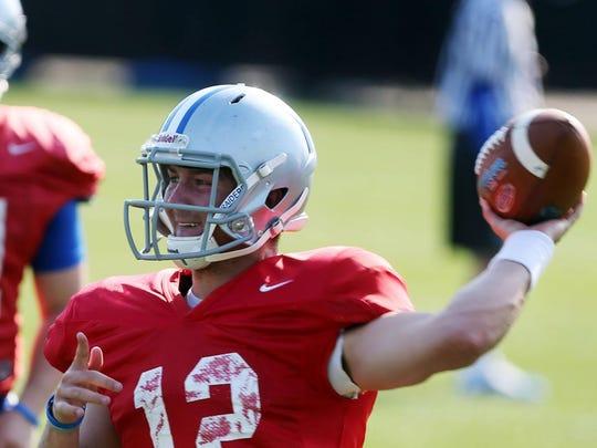 MTSU redshirt freshman Brent Stockstill will split time with Austin Grammer at quarterback this fall according to head coach Rick Stockstill.