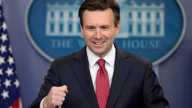 In this file photo from April 2016, White House press secretary Josh Earnest speaks during the daily news briefing at the White House in Washington.