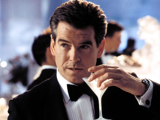 Pierce Brosnan as James Bond in Die Another Day -- with martini in hand.