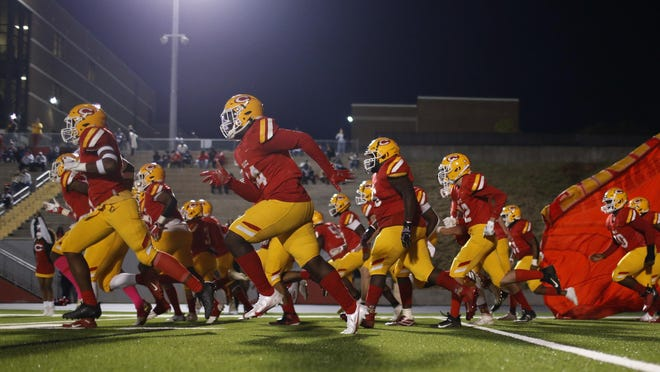 Clarke Central takes the field before kickoff of an GHSA high school football game between Clarke Central and Jackson County in Athens, Ga., on Friday Oct. 9, 2020. Clarke Central won 38-10.