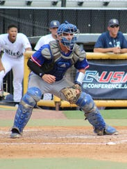 Louisiana Tech catcher Brent Diaz awaits a throw at