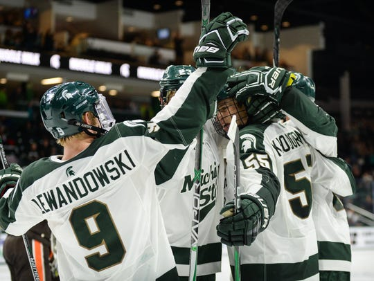 Michigan State's top forwards line has produced 18