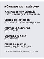 Números del Consulado de México en Phoenix