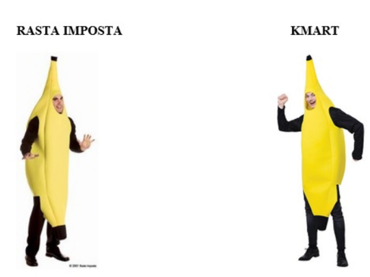 Illustration from a lawsuit shows similarities between banana costumes sold by Rasta Imposta of Runnemede and Kmart