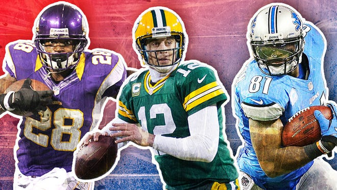 Running back Adrian Peterson, quarterback Aaron Rodgers and wide receiver Calvin Johnson are the top fantasy players at their positions for 2013.